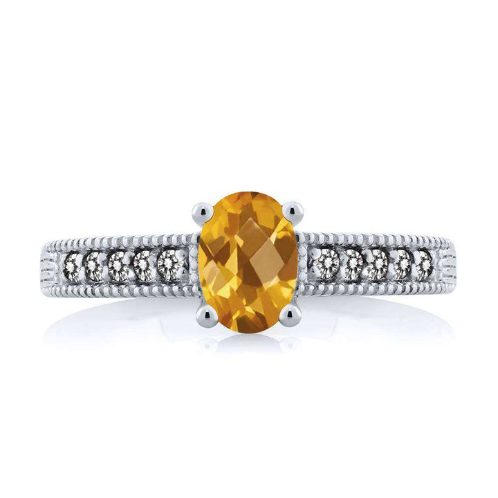 1.03 Ct Oval Checkerboard Yellow Citrine White Diamond 925 Sterling Silver Ring