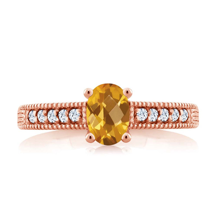 1.10 Ct Oval Checkerboard Yellow Citrine White Topaz 18K Rose Gold Plated Silver Ring