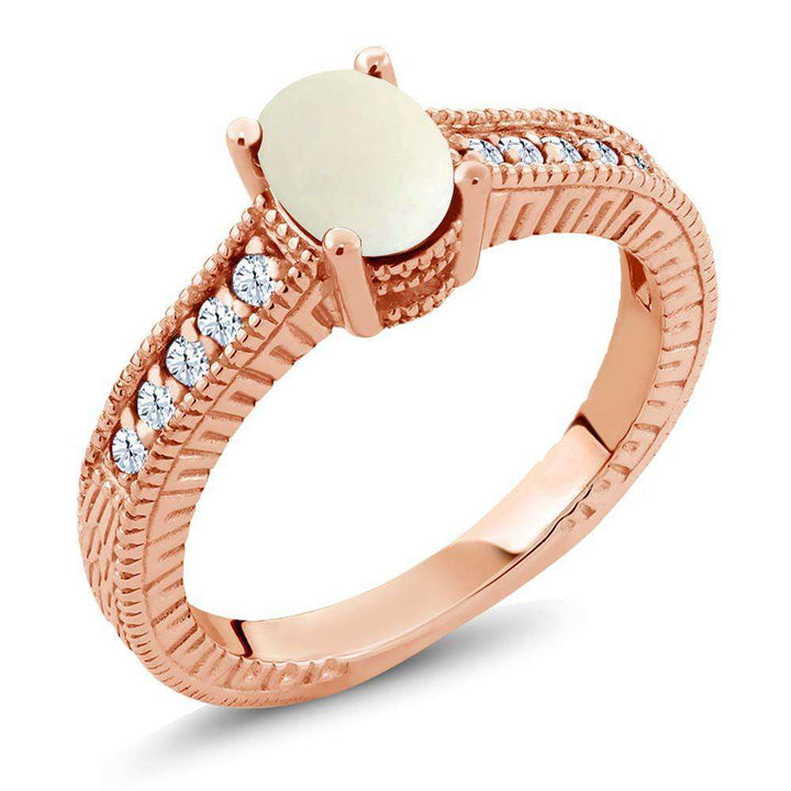 Gem Stone King 1.03 Ct Oval Cabochon White Simulated Opal Created Sapphire 18K Rose Gold Plated Silver Ring