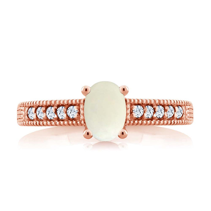 1.03 Ct White Simulated Opal Created Sapphire 18K Rose Gold Plated Silver Ring