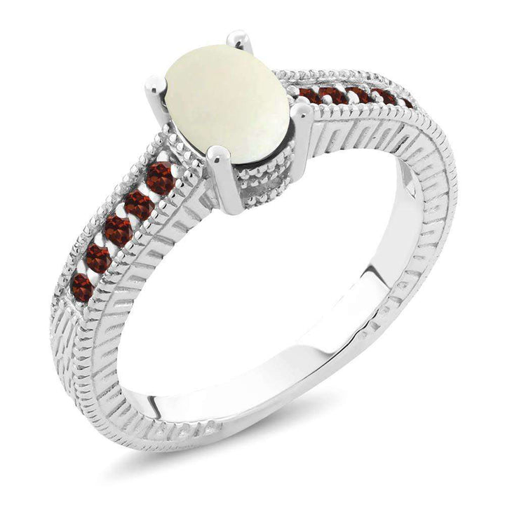 Gem Stone King 1.03 Ct Oval Cabochon White Simulated Opal Red Garnet 925 Sterling Silver Engagement Ring