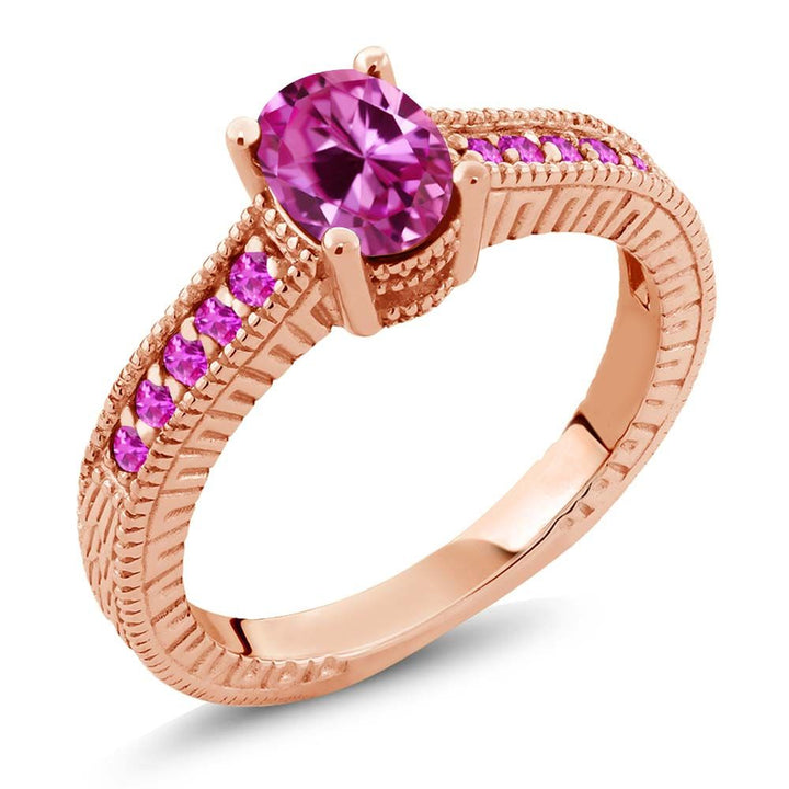 Gem Stone King 1.50 Ct Oval Pink Created Sapphire Sapphire 18K Rose Gold Plated Silver Ring