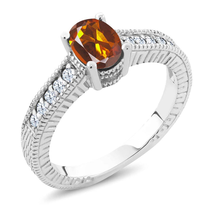Gem Stone King 1.10 Ct Oval Orange Red Madeira Citrine White Topaz 925 Sterling Silver Ring