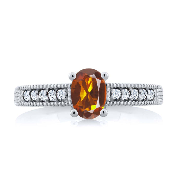 1.10 Ct Oval Orange Red Madeira Citrine White Topaz 925 Sterling Silver Ring