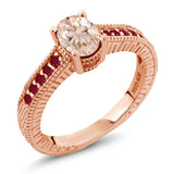 Gem Stone King 0.85 Ct Oval Peach Morganite Red Ruby 18K Rose Gold Plated Silver Ring