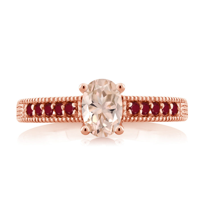 0.85 Ct Oval Peach Morganite Red Ruby 18K Rose Gold Plated Silver Ring