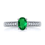 0.90 Ct Oval Green Simulated Emerald 925 Sterling Silver Engagement Ring
