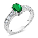 Gem Stone King 0.90 Ct Oval Green Simulated Emerald 925 Sterling Silver Engagement Ring
