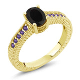 Gem Stone King 1.08 Ct Oval Black Onyx Purple Amethyst 18K Yellow Gold Plated Silver Ring