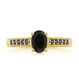 1.08 Ct Oval Black Onyx Purple Amethyst 18K Yellow Gold Plated Silver Ring