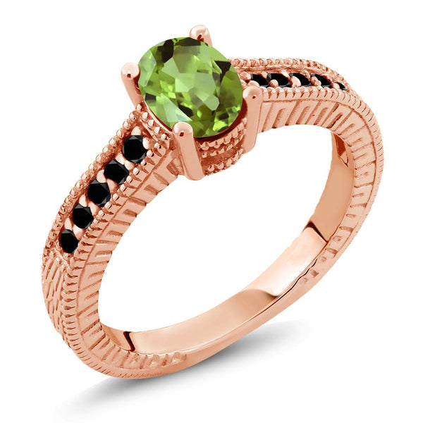Gem Stone King 1.13 Ct Oval Green Peridot Black Diamond 18K Rose Gold Plated Silver Ring
