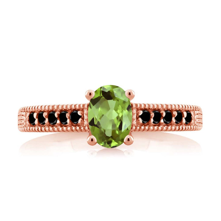 1.13 Ct Oval Green Peridot Black Diamond 18K Rose Gold Plated Silver Ring