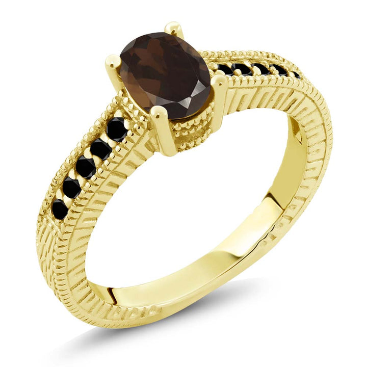 Gem Stone King 1.08 Ct Oval Brown Smoky Quartz Black Diamond 18K Yellow Gold Plated Silver Ring