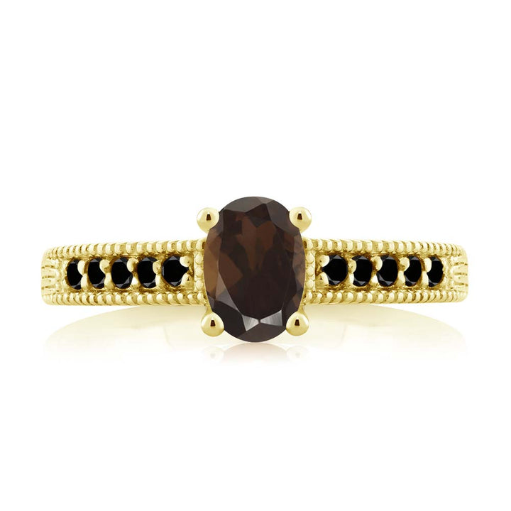 1.08 Ct Oval Brown Smoky Quartz Black Diamond 18K Yellow Gold Plated Silver Ring