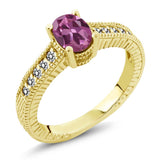 Gem Stone King 1.18 Ct Oval Pink Tourmaline White Diamond 18K Yellow Gold Plated Silver Ring