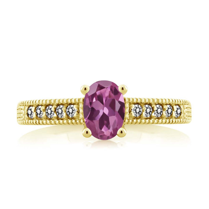 1.18 Ct Oval Pink Tourmaline White Diamond 18K Yellow Gold Plated Silver Ring
