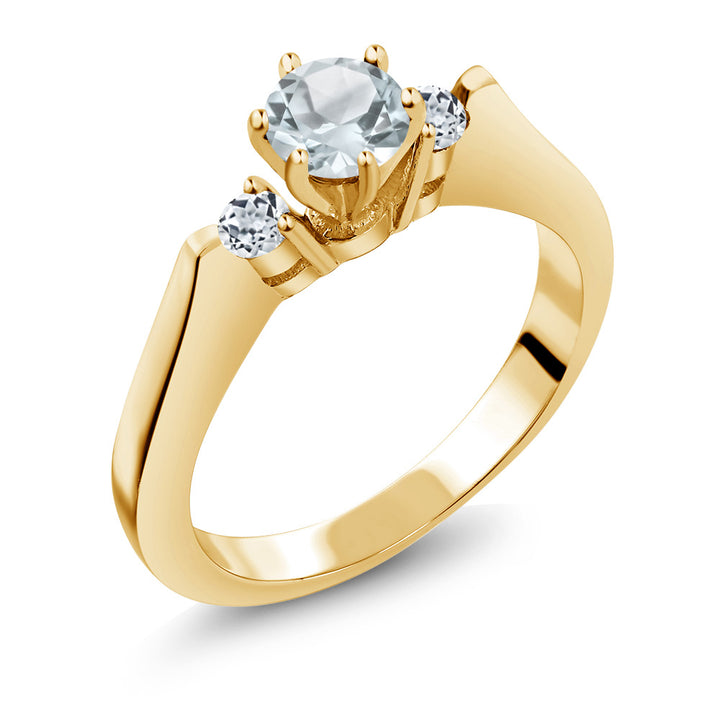 Gem Stone King 0.61 Ct Sky Blue Aquamarine White Topaz 925 Yellow Gold Plated Silver 3-Stone Ring