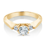 0.61 Ct Sky Blue Aquamarine White Topaz 925 Yellow Gold Plated Silver 3-Stone Ring