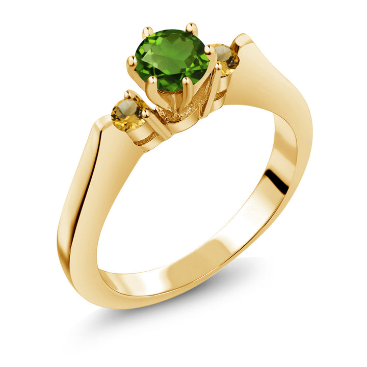 Gem Stone King 0.64 Ct Chrome Diopside and Simulated Citrine 925 Yellow Gold Plated Silver Ring