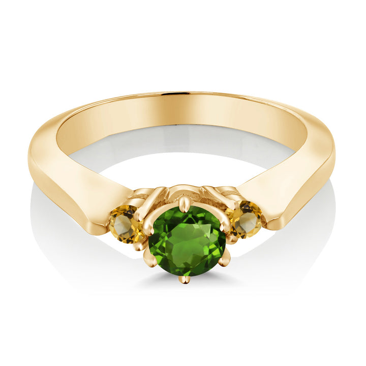0.64 Ct Chrome Diopside and Simulated Citrine 925 Yellow Gold Plated Silver Ring