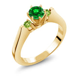 Gem Stone King 0.98 Ct Green Simulated Emerald Peridot 925 Yellow Gold Plated Silver 3-Stone Ring