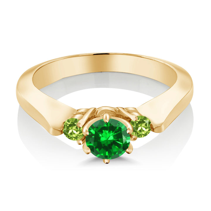 0.98 Ct Simulated Emerald Peridot 925 Yellow Gold Plated Silver 3-Stone Ring