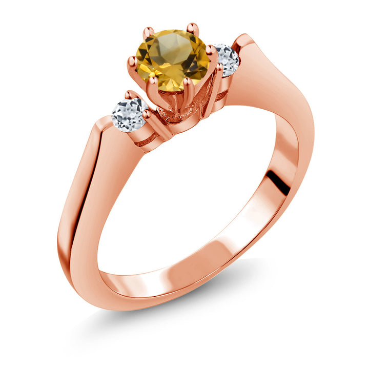 Gem Stone King 0.61 Ct Yellow Citrine White Topaz 925 Rose Gold Plated Silver 3-Stone Ring