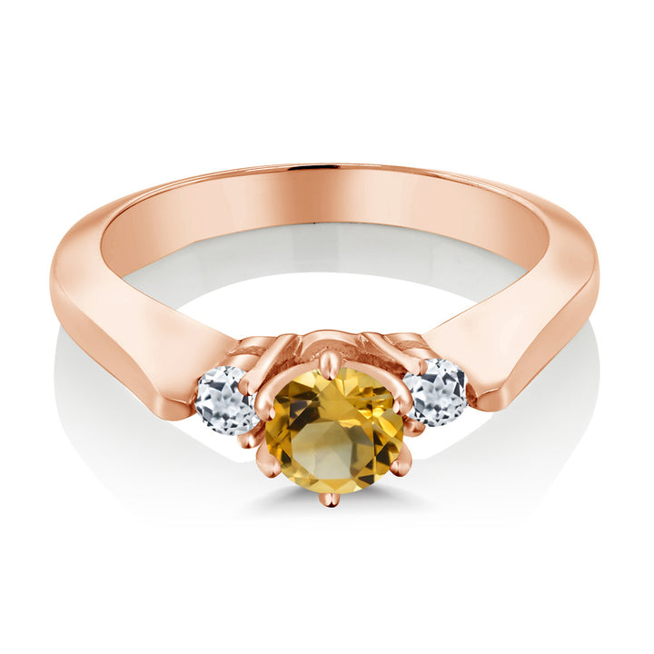 0.61 Ct Yellow Citrine White Topaz 925 Rose Gold Plated Silver 3-Stone Ring