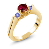Gem Stone King 0.76 Ct Red Created Ruby Blue Tanzanite 925 Yellow Gold Plated Silver 3-Stone Ring