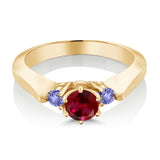 0.76 Ct Red Created Ruby Blue Tanzanite 925 Yellow Gold Plated Silver 3-Stone Ring