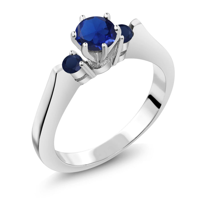 Gem Stone King 0.71 Ct Round Blue Simulated Sapphire Sapphire 925 Sterling Silver 3-Stone Ring