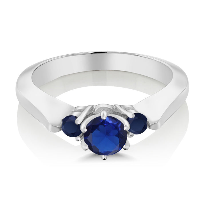 0.71 Ct Round Blue Simulated Sapphire Sapphire 925 Sterling Silver 3-Stone Ring