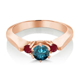 0.79 Ct Round Blue Diamond Red Ruby 925 Rose Gold Plated Silver 3-Stone Ring