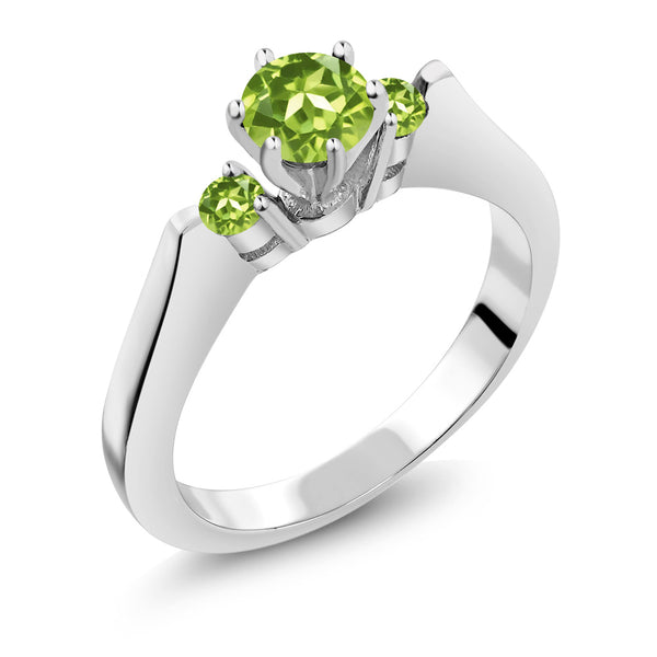 Gem Stone King 0.74 Ct Round Green VS Peridot 925 Sterling Silver 3-Stone Ring