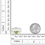 0.74 Ct Round Green VS Peridot 925 Sterling Silver 3-Stone Ring