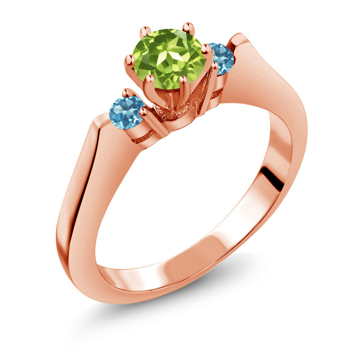 Gem Stone King 0.76 Ct Peridot Blue Simulated Topaz 925 Rose Gold Plated Silver 3-Stone Ring