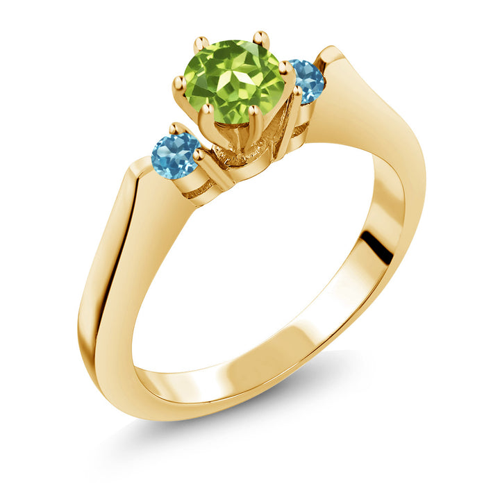 Gem Stone King 0.76 Ct Peridot Swiss Blue Simulated Topaz 925 Gold Plated Silver 3-Stone Ring