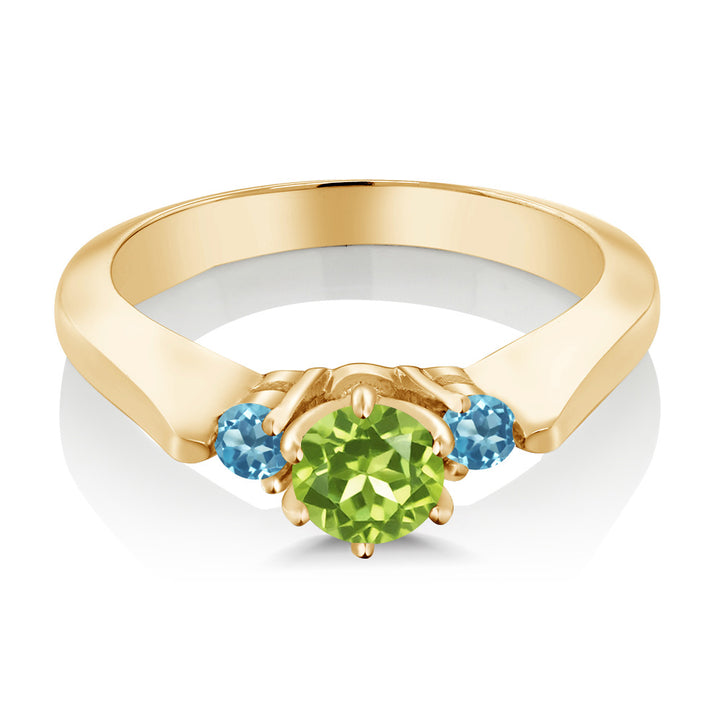 0.76 Ct Peridot Swiss Blue Simulated Topaz 925 Gold Plated Silver 3-Stone Ring