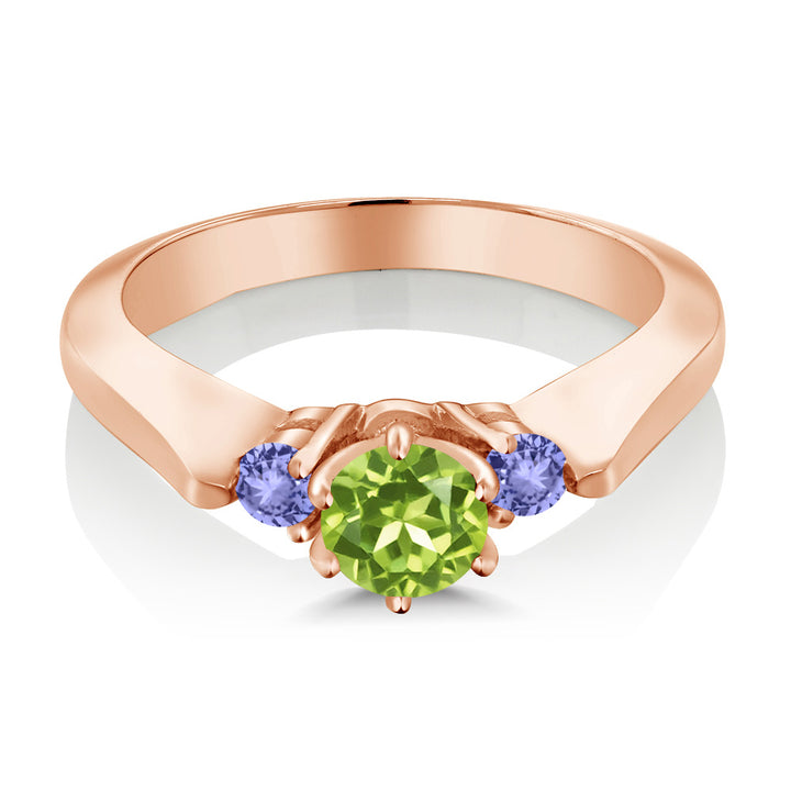 0.76 Ct Green Peridot Blue Tanzanite 925 Rose Gold Plated Silver 3-Stone Ring