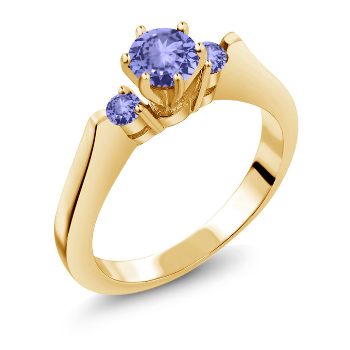 Gem Stone King 0.62 Ct Round Blue AAA Tanzanite 925 Yellow Gold Plated Silver 3-Stone Ring