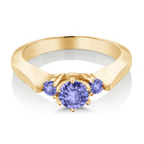 0.62 Ct Round Blue AAA Tanzanite 925 Yellow Gold Plated Silver 3-Stone Ring