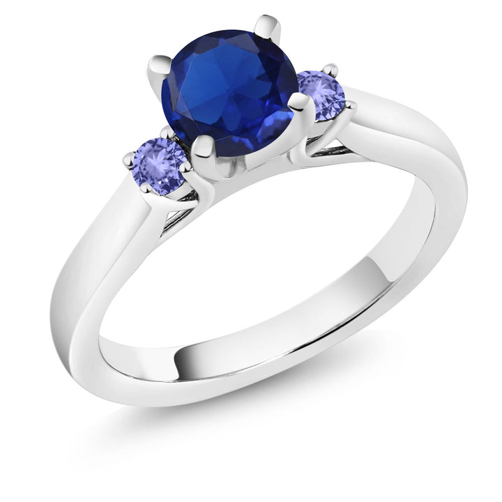 Gem Stone King 0.99 Ct Blue Simulated Sapphire Blue Tanzanite 925 Sterling Silver 3-Stone Ring