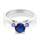 0.99 Ct Blue Simulated Sapphire Blue Tanzanite 925 Sterling Silver 3-Stone Ring