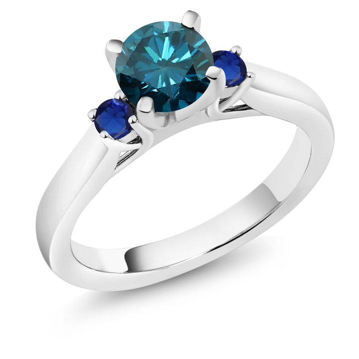 Gem Stone King 1.06 Ct Blue Diamond Blue Simulated Sapphire 925 Sterling Silver 3-Stone Ring