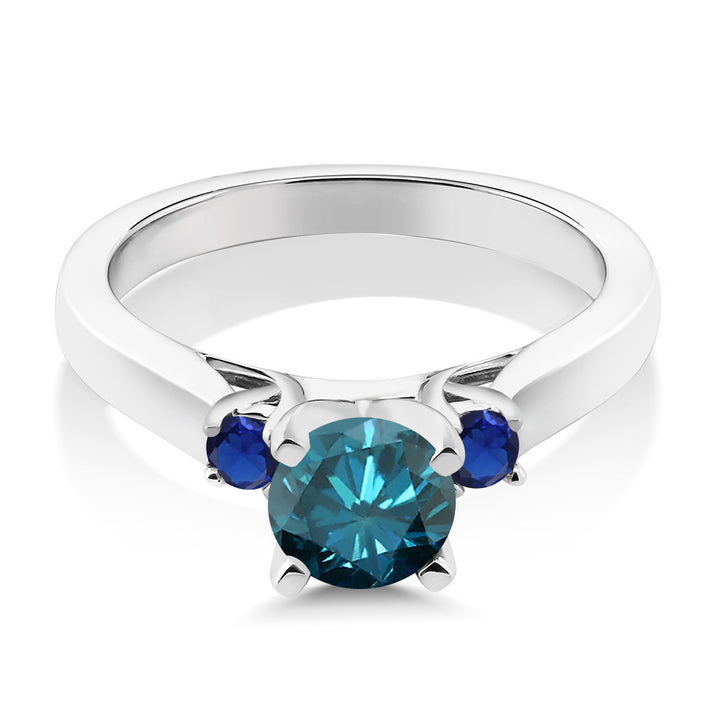 1.06 Ct Blue Diamond Blue Simulated Sapphire 925 Sterling Silver 3-Stone Ring