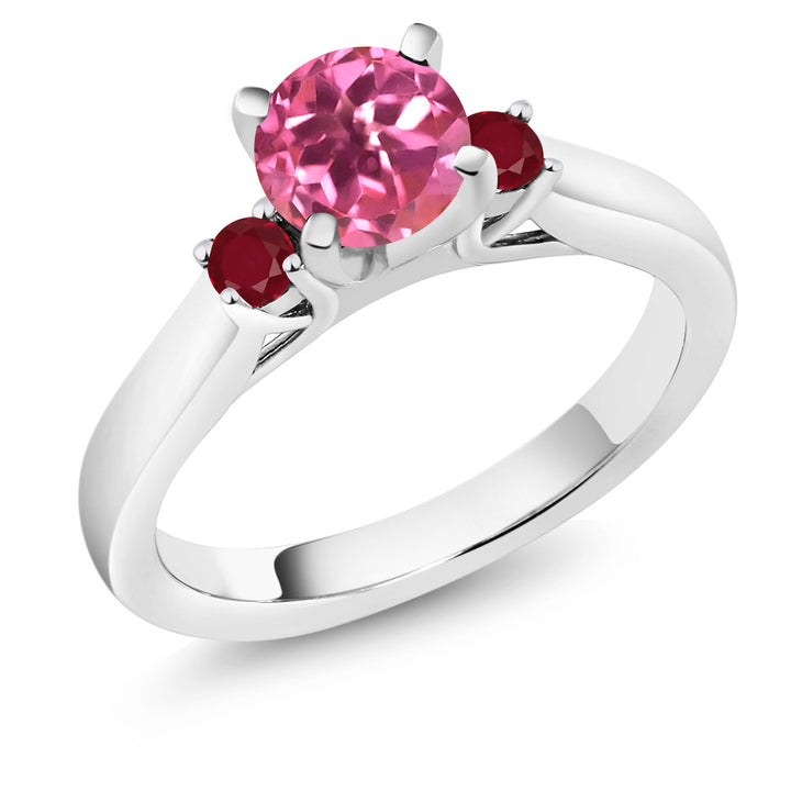 Gem Stone King 1.28 Ct Round Pink Mystic Topaz Red Ruby 925 Sterling Silver 3-Stone Ring