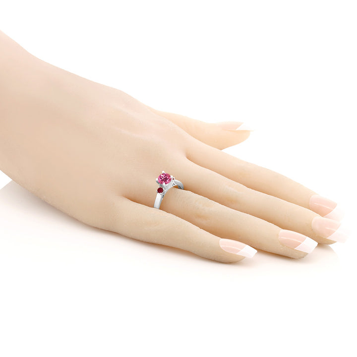 1.28 Ct Round Pink Mystic Topaz Red Ruby 925 Sterling Silver 3-Stone Ring