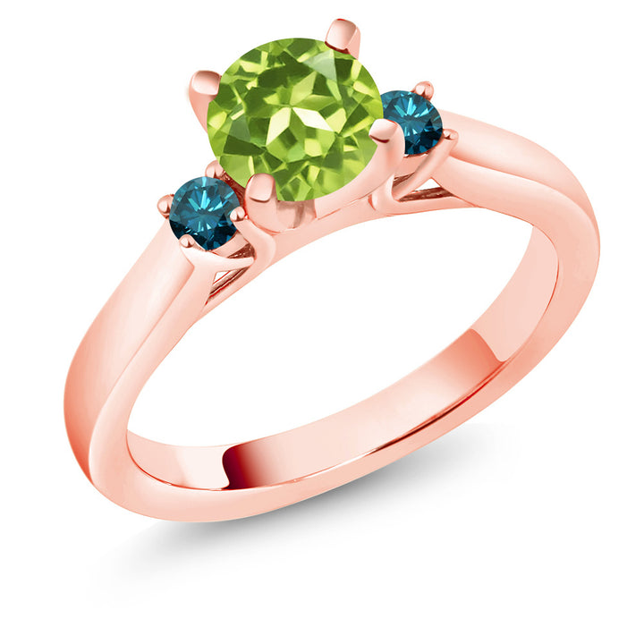 Gem Stone King 1.05 Ct Green Peridot Blue Diamond 18K Rose Gold Plated Silver 3-Stone Ring