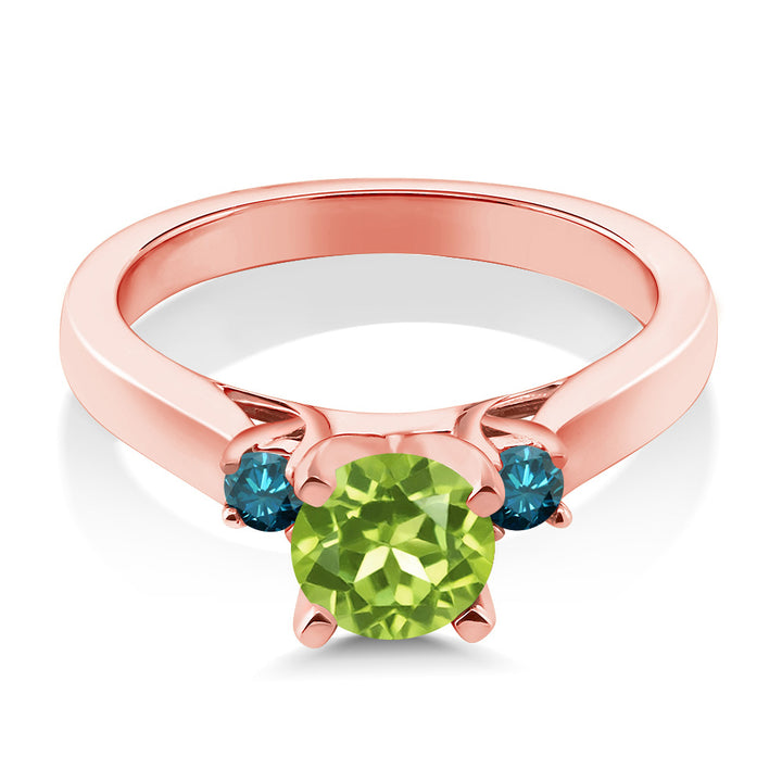 1.05 Ct Green Peridot Blue Diamond 18K Rose Gold Plated Silver 3-Stone Ring