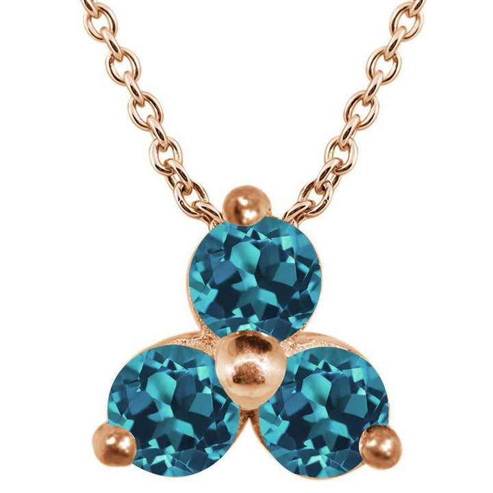 Gem Stone King 0.39 Ct Round London Blue Topaz 18K Rose Gold Plated Silver Pendant With Chain